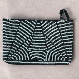 Zara Black & White Beaded Clutch Envelope Bag